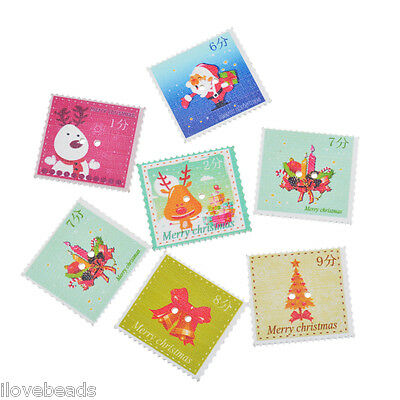 LOVE 50x Mixed Christmas Stamp Wood Button Two Holes Scrapbooking Craft
