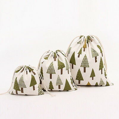 1PC Linen Christmas Tree Drawstring Present Storage Packing Gift Bags Pouches