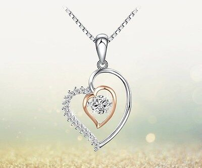 Dancing Sterling Silver Halo Heart Love Cubic Zirconia Pendant Necklace Gift A8