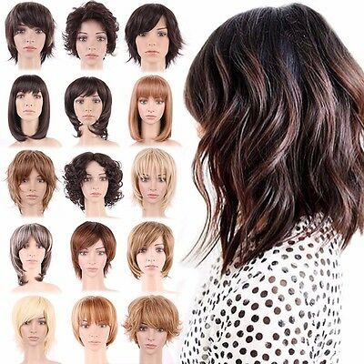 Elegant Lady Short Cheap Curly Wavy Straight Wig Black Blonde Brown Full Wigs #8
