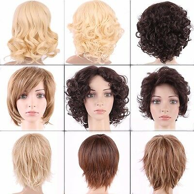 Fashion Ladies Full Short Hair Wigs Real Ombre Black Blonde Curly Straight Wig #