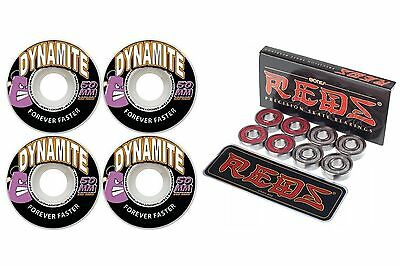 Dynamite Forever 50mm Skateboard Wheels New + FREE POST + Bones Reds Bearings