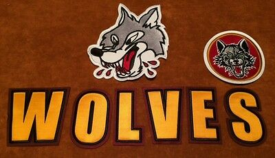 Sudbury Wolves Hockey Stitched Crest Patch 7 by 5.75 inch w Bonus WOLVES letters