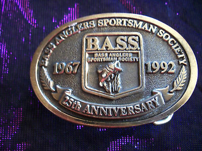 Vintage 25th Anniversary Bass Anglers Sportsman Society Belt Buckle Fishing 1992