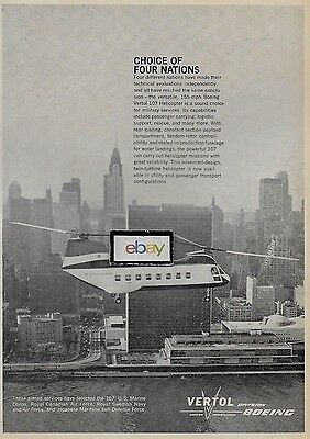 New York Airways Vertol Aircraft Corp 107 Helicopter New York Un Building Ad