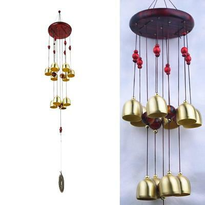 Bronze 10 Big Metal Bells Wind Chime Charm Hanging Church Feng Shui Ornament