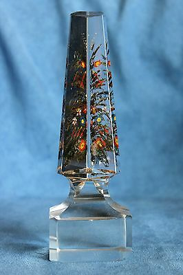 Antique 19th Century Victorian Grand Tour Reverse Glass Painted Flowers OBELISK