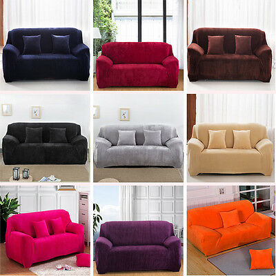 Winter Pure Color Flannel Stretch Sofa Couch Slip Covers Easy Fit 1 2 3 4 Seater