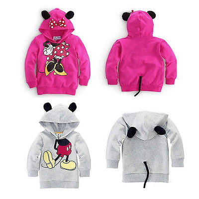 Baby Girl Boys Kids Cartoon Mickey Minnie Top Hoodie Coat Outfit Sweater Clothes