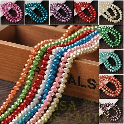 Bulk Wholesale 3~12mm Opaque Rondelle Faceted Charms Loose Spacer Glass Beads