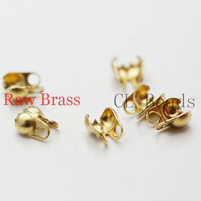 200pcs Raw Brass Ball Chain Endings-Clam-Knot Cover-Side Open 1mm (341C-I-32X)