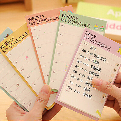 Cute Daily Planner Bookmark Marker Memo Sticky Notes Notepad Check List Fashionn