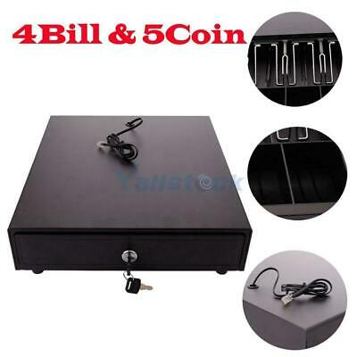 Cash Drawer Box Works Compatible Epson/Star w/4Bill &5Coin POS Printers Tray