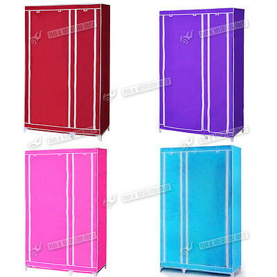 ouble Triple Wardrobe Clothes Shelves Organiser Hanging Rail Cupboard Canvas