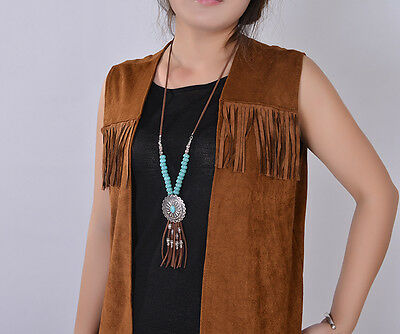 Womens Long Necklace Leather Rope Turquoise Beaded Native American