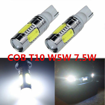 2X White High Power COB T10 W5W 7.5W LED Projector Backup Reverse LED Lights 921