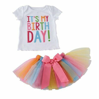 Toddler Kids Baby Girls Outfit Clothes Birthday T-shirt Tops+Tutu Skirt 2PCS Set