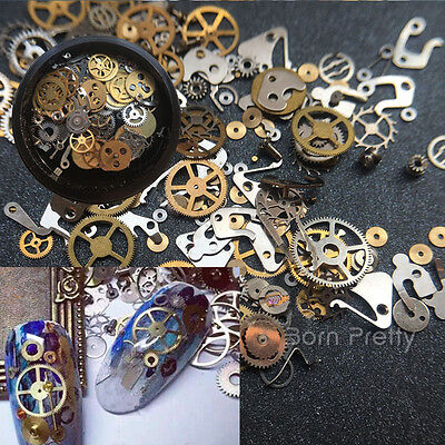 1 Box 3D Nail Art Decoration Time Wheel Steam Punk Style Metal Manicure DIY