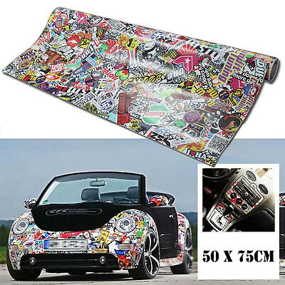 "Cartoon 20"" x 30"" Rock Panda Graffiti Car Sticker Bomb Wrap Sheet Decal Sticker"