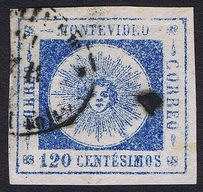 Uruguay 1859 Sun 120c Blue Fine Used Large Margins