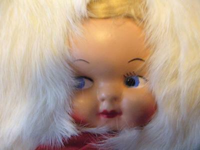 Vintage Child's Real Fur Muff Baby Sweet Doll Face Hand Warmer