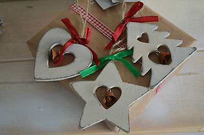 Gisela Graham Shabby Chic Wooden Heart/Tree/Star Christmas Home Decor (set of 3)