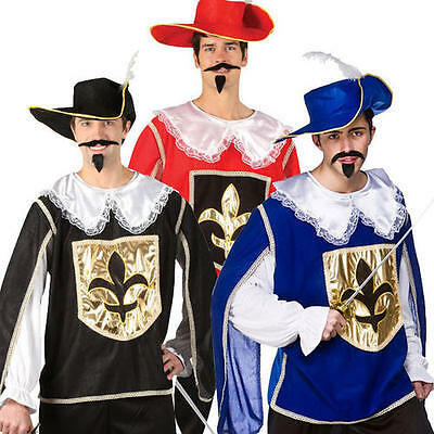 Musketeers Medieval Mens Fancy Dress Black Red Musketeer Halloween Adult Costume