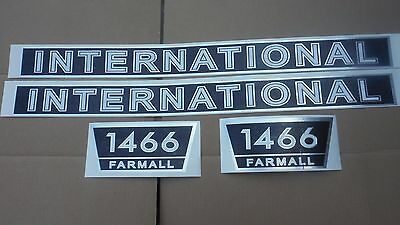 International 1466 Decals. Hood And Numbers. Black/White/Chrome. Vinyl C-Details