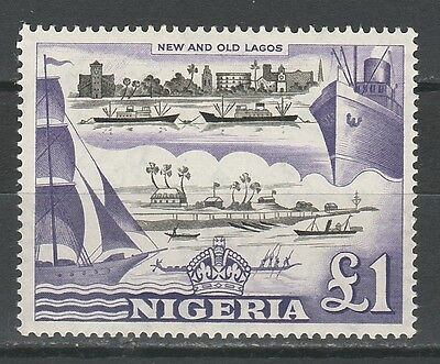 Nigeria 1953 Pictorial Ship 1 Pound Mnh ** Top Value