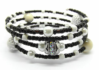Monochrome Memory Wire Bracelet Jewellery Making Kit with Instructions K0011L