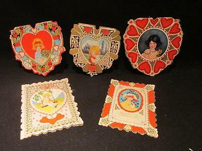 Whitney Made Worcester Mass Group of 6 Vintage Early 1900s Valentine's Cards