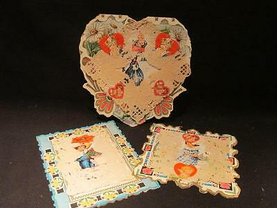 Whitney Made Worcester Mass Group of 3 Vintage Early 1900s Valentines with Lace