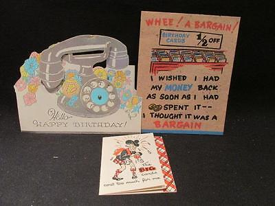 Coutts 3 Vintage Birthday Cards Cheap Scotsman, 1/2 Off Bargain, Silver Phone