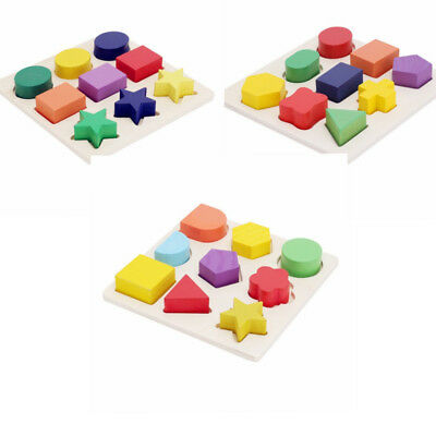Kids Baby Wooden Geometry Block Puzzle Montessori Early Learn Educational Toy #1