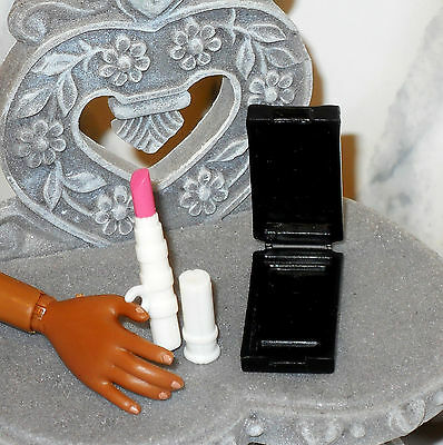 ACCESSORY Barbie White Lipstick Holder Pink Shade & Rectangular Makeup Compact