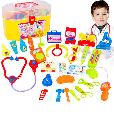 30×Baby Kids Doctor Medical Role Play Toy Set Carry Case Kit Education Souptoys