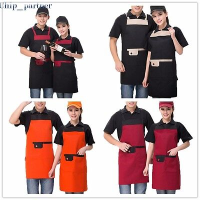 1pc Adjustable Apron Bib Uniform With 2 Pockets Chef Waiter Kitchen Cook Aprons