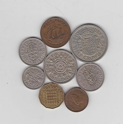 1954 Elizabeth Ii Set Of 8 Coins In Good Fine Or Better Condition