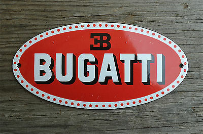 Superb heavy quality porcelain advertising sign Bugatti wall plaque garage sign