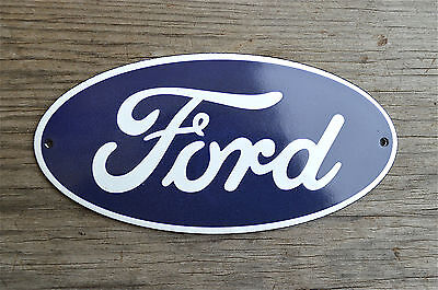 Superb heavy quality porcelain advertising sign Ford blue oval wall plaque