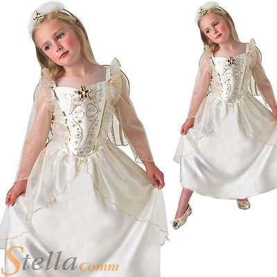 Girls Deluxe Angel Christmas Nativity Fancy Dress Costume Outfit With Wings