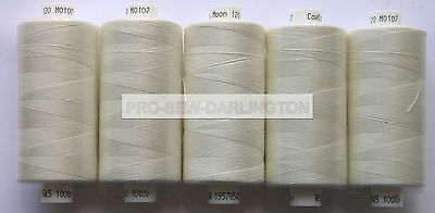 5 REELS LIGHT IVORY MOON POLYESTER SEWING THREAD COTTON 120s ( 107 )
