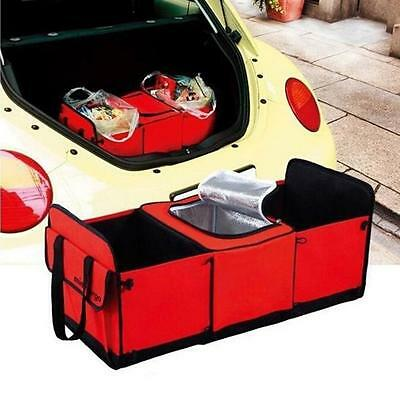 3 Compartment Car Collapsible Storage Basket Organizer Insulated Cooler Outdoor