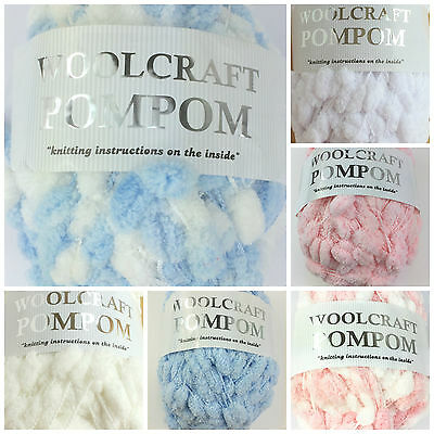 Pom Pom baby blanket/ scarf wool, supersoft blue pink white ivory 200grams
