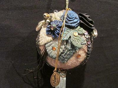 Katherine's Collection Victorian Look Flat Sphere OrnamentTeal, Golds, Silver