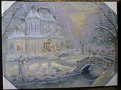 2 x LED lit Winter Scene New England Canvas Picture Wall Decorations Gifts