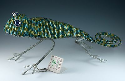 Grass Roots Creations Beaded Metal Gecko Lizard 13 Inches Long With Tag