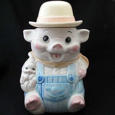 Farmer Pig with Overalls Cookie Jar Derby Hat Mouse Ceramic Unmarked