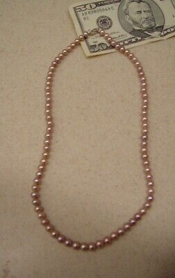 Genuine Pink Pearl Necklace 48inch 7mm Real Jewelry at Wholesale Prices