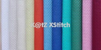 25cm x 25cm BINCA ** 5% OFF 2+ ** 6 COUNT AIDA CROSS STITCH FABRIC (13 Colours)